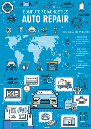 Car service, computer diagnostic and auto repair mechanic garage station. Vector car wash, tow service and tire pumping or vehicle engine oil replacement and maintenance line infographic on world map Illustration