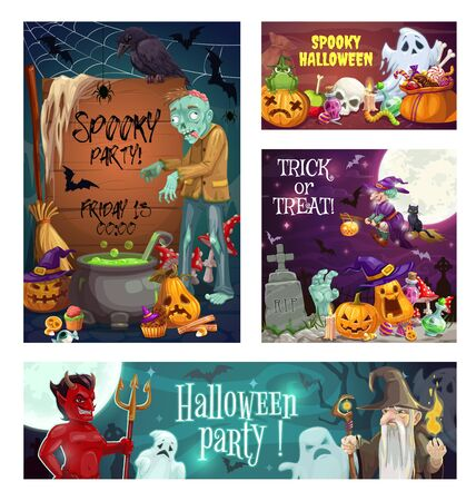 Halloween holiday spooky night party vector invitations with horror monsters and trick or treat candies. Ghosts, bats and spiders, witch, scary pumpkins, skulls, zombie and evil wizard on cemetery
