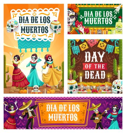 Dancing skeletons of Dia de los Muertos Mexican holiday vector design. Day of Dead altar with sugar skulls, Catrina Calavera and mariachi with sombrero and guitar, marigold flower and festive bunting Иллюстрация