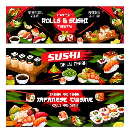 Sushi menu, Japanese bar and Asian restaurant banners. Vector Japan food fish sushi and seafood rolls with rice, soy and wasabi, salmon tempura and eel unagi maki, gunkan and Philadelphia rolls