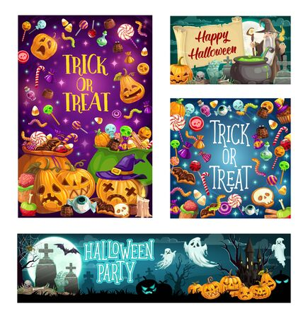 Happy Halloween holiday cartoon posters, trick or treat monster party celebration. Vector scary candies and horror sweets, pumpkins with witch ghosts, zombie and haunted cemetery