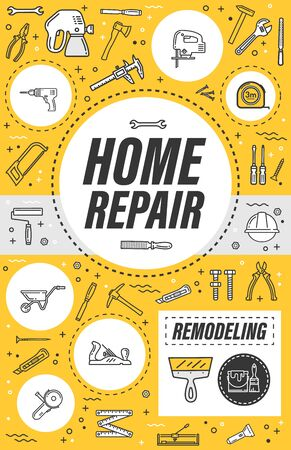 Home repair, house construction or flat renovation and remodeling service poster. Vector thin line handyman carpentry toolbox of hammer, interior painting brush and stucco plastering roller tool Illustration