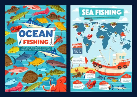 Sea fishing and ocean fishery industry, fisher license for seafood and fish catch. Vector fishing infographics on world map, lure tackles and equipment, boat or ship with marlin, tuna and salmon Illustration