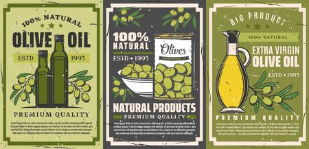 Extra virgin olive oil icons and natural farm food olive products shop. Vector vintage posters of olive oil bottle, premium quality marinated pickles in can and green olive tree Çizim