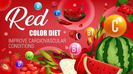 Red color diet, healthy organic food nutrition of vegetarian vegetables, natural fruits and berries. Vector red color diet vitamins in watermelon, chili pepper and strawberry for cardiovascular health
