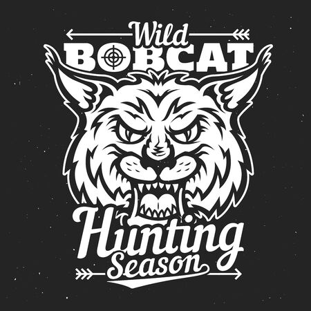 Hunting club badge, wild bobcat hunt t-shirt print template. Vector hunting season lynx animal with fangs and hunter crossbow arrow, hunt trophy and sport society poster Illustration