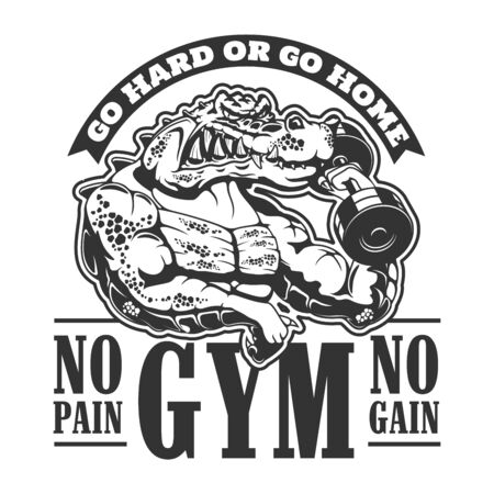 Gym icon, workout sport club symbol for t-shirt print. Vector No Pain No Gain and Go Hard or go home gym motivation quote, muscle crocodile with iron dumbbell and muscular biceps