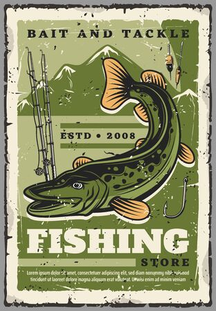 Fishing tackles and baits, fisherman equipment and fish catch accessories shop. Vector vintage retro poster of pike fish, fishing rods or spinning with hooks and floaters