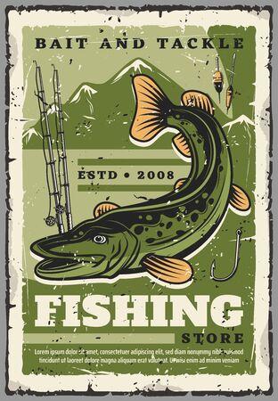 Magasin d'articles de pêche et d'appâts, de matériel de pêcheur et d'accessoires pour la pêche. Affiche rétro vintage de vecteur de brochets, de cannes à pêche ou de filature avec des crochets et des flotteurs Vecteurs