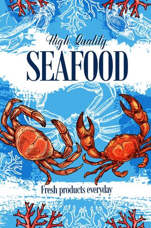 Seafood store and sea food products market shop sketch poster. Vector lobster crab and marine crustaceans, ocean and sea fishing high premium quality food on corals background