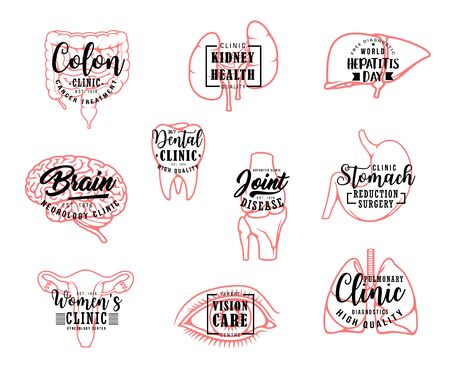 Organs outline icons, medical clinic and medicine lettering. Vector calligraphy of intestines cancer treatment, hepatitis day ribbon and dental clinic tooth, brain neurology center and joint disease