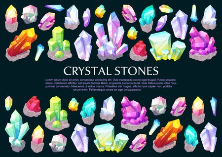 Crystal stones and gems, gemstone minerals poster. Vector jewelry natural rhinestones quartz and diamond, green jewels with natural shape and pink amethyst, crystal glass rock and shiny amber