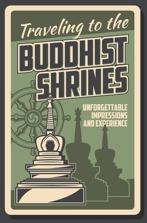 Buddhism and Dharma enlightenment, religious Buddhist shrines pilgrimage travel tours. Vector vintage poster of Buddhism Dharma wheel and temple stupa, spiritual culture and worship tradition trips