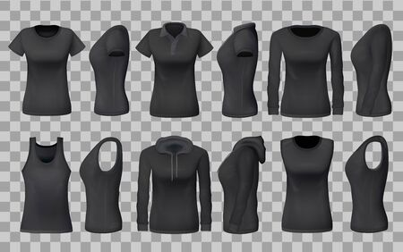 Women clothes apparel black templates and 3D realistic sportswear mockup models. Vector front and side view isolated t-shirts, sport tank tops and hoodies, casual polo or sleeveless shirt templates