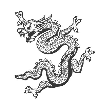 Chinese flying dragon, China New Year and ancient monster animal traditional symbol. Vector dragon with scales pattern, Asian art and zodiac sign, Japanese tattoo black icon 矢量图像