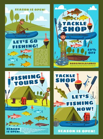 Sea fishing and lake fishery season, fish catch tours and fisher equipment tackles shop posters. Vector man with rod fishing in boat for pike, perch or salmon and tuna, carp and flounder in fishnet