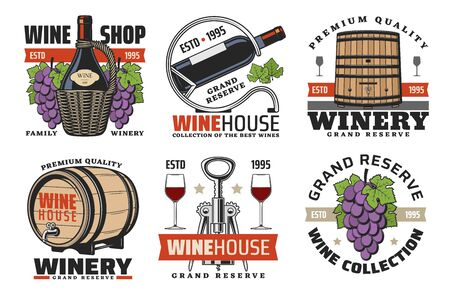 Winemaking house and winery wine grand reserve icons. Vector wine production factory and shop icons of wooden barrels and red wine glass, vineyard grape and premium quality ribbon