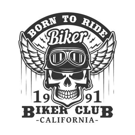 Insignia del club de motociclistas de calavera en gafas de motociclista y casco con alas. Vector icono retro de motociclistas rockeros para camiseta o emblema de tatuaje, esqueleto de grunge en carreras de motos