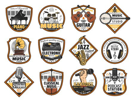 Sound recording studio label, music instruments shop and DJ equipment store icons. Vector karaoke bar, jazz festival signs, music band instruments guitar, classical violin and retro vinyl gramophone 일러스트