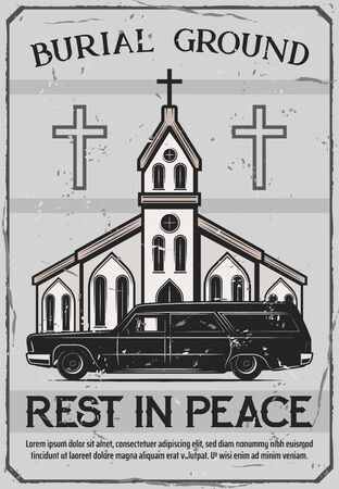 Funeral service, burial ceremony organization agency or company vintage poster. Vector funeral catafalque hearse or coffin car at Christian church with crosses and Rest in Peace RIP text Illustration