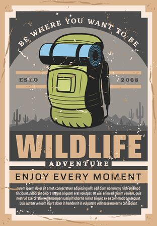 Camping travel and outdoor hiking adventure, wild nature tourist club. Vector vintage poster of mountaineering or forest and mountain trips, backpacking tours and wildlife exploration