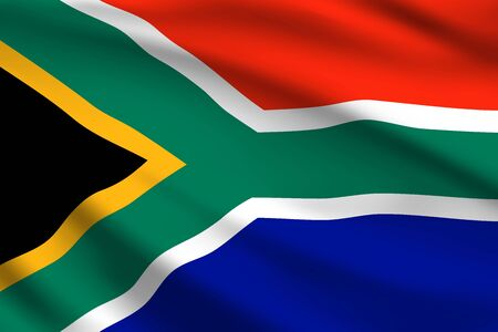South Africa flag, 3D realistic wavy banner. Vector South Africa Republic national flag and Independence Day symbol of green Y shape and black triangle on red and blue background