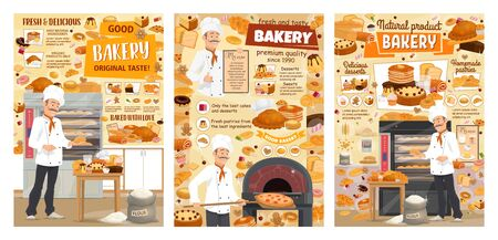 Bakery shop bread, sweet baked dessert cakes and pastry cookies. Vector baker man in chef hat baking bread, patisserie pancakes and pizza in oven, croissants and wheat bagel buns and donuts Illustration