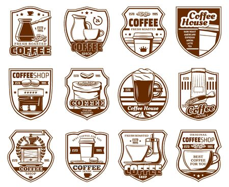 Coffee shop, cafe or cafeteria signs, coffeehouse drinks icons. Vector premium quality crown, coffee maker machine, beans and latte steam in takeaway cup, grinder with sugar and milk mug