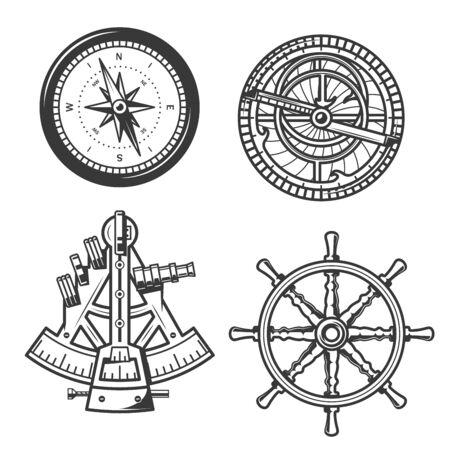 Timone della nave, bussola a vela e sestante, attrezzatura per la navigazione marittima. Icone vettoriali del navigatore bussola con frecce Winds Rose e astrolabio nautico o strumenti di posizionamento geografico