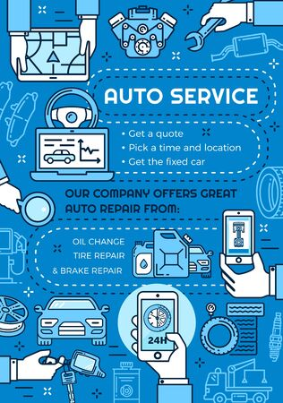 Car service, online mechanic maintenance, repair and diagnostics. Vector thin line vehicle engine oil change, wheel tire pumping and brakes repair, automobile parts restoration and tow service Illustration
