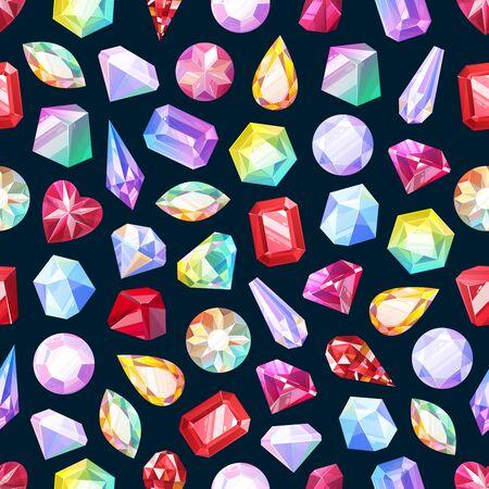 Pierres précieuses, bijoux de pierres précieuses et diamants, modèle sans couture de pierres précieuses de bijoux. Fond de vecteur de rubis, cristal de saphir et émeraude, strass opale et améthyste, motif de pierres précieuses de topaze et de quartz Vecteurs