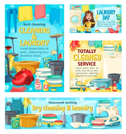 Home cleaning and house service in floor mopping and laundry washing. Vector housewife with laundry detergents, vacuum cleaner and sewing machine, ironing clothes and polishing window glass Illustration