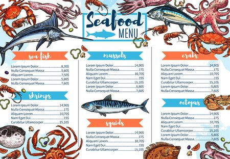 Seafood restaurant menu sketch cover, sea fish and gourmet food. Vector shrimps, crab or lobster barbecue, chef recipe salmon steak, squids and octopus, sardine and dorada grill bar menu