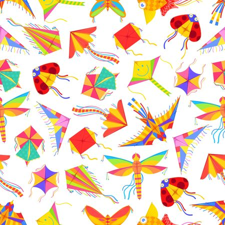 Cartoon kites seamless pattern. Vector background of flying color paper kites in ladybug and bird, butterfly and dragonfly, square origami fish shapes, kids summer game or festival pattern