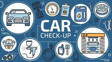 Automotive maintenance and car service, mechanic diagnostics and vehicle check-up. Vector car service in engine oil change, vehicle painting and tuning, car wash center and wheel tire pumping service