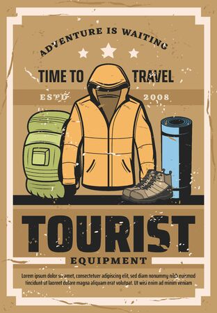 Tourist sport equipment, mountaineering clothes and hiking accessories shop. Vector vintage poster of winter jacket, mountain trip boots or backpack and camp sleeping mat, outdoor adventure expedition Ilustração
