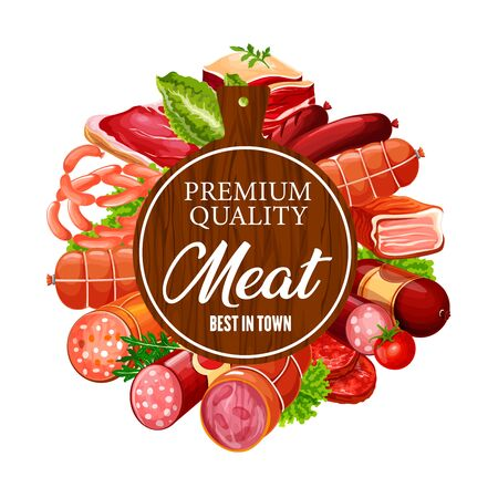 Meat products and sausages, butcher shop beef, lamb and pork food delicatessen. Vector butchery steak sirloin, ham and bacon delicatessen, salami and cervelat sausages, mutton ribs and barbecue meat