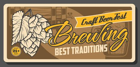 Craft beer festival, brewing traditions and Oktoberfest traditional vintage poster. Vector draught craft beer in wooden barrel with tap, beer pint mug and hop leaf, brewery and brewing house fest