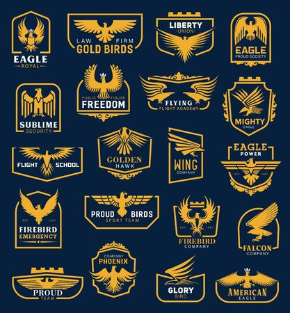 Heraldic eagle icons, business corporate identity signs. Vector heraldic golden hawk and eagle wing of aviation academy, liberty union and flight school, firebird emergency and phoenix company symbol Vetores
