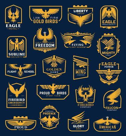 Iconos de águila heráldica, señales de identidad corporativa empresarial. Vector heráldico halcón dorado y ala de águila de la academia de aviación, la unión de la libertad y la escuela de vuelo, emergencia firebird y símbolo de la compañía phoenix Ilustración de vector