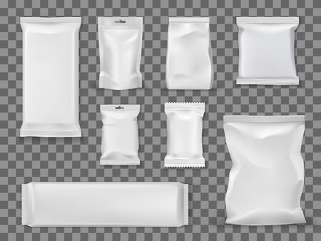 Food and snacks empty vacuum packages isolated on transparent. Vector empty packs, containers mockups to storage food products. White packets, blank sugar sticks and candies cover, disposable packets Archivio Fotografico - 129344821