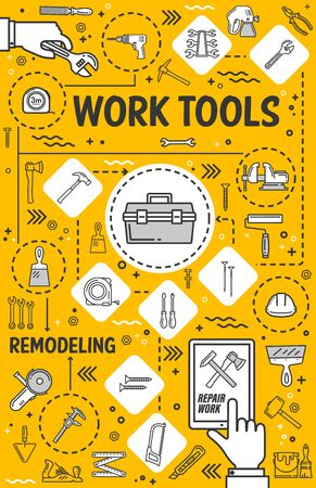 Home repair, remodeling and house renovation tools. Vector carpentry, building and construction hand tools, masonry spatula and painting brush, woodwork plane and screwdriver, measuring instruments Stock fotó - 129344822