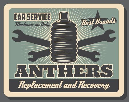 Car service center vintage poster, automobile chassis spare parts shop. Vector car hinge anthers replacement and recovery, vehicle mechanic repair wrenches and automotive garage station