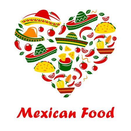 Mexican food poster, Mexico cuisine restaurant menu cover or cafe bar sign. Vector heart of spicy hot taco, Mexican sombrero, jalapeno chili pepper and traditional food burrito, taco and nachos