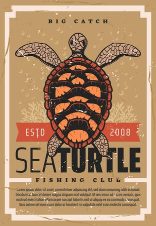 Turtle fishing, fisher big catch trophy vintage grunge poster. Vector seafood fishing club, wild ocean turtle and fisherman marine society or fishery industry ESTD ribbon