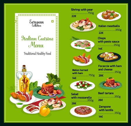 Italian cuisine menu, traditional Italy food and dishes. Vector dollar price menu for shrimp with pear, Italian meatballs and chops with pesto sauce, melon horned with ham and focaccia with cheese Illustration