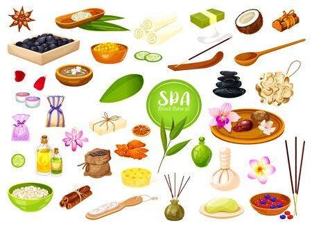 Soins SPA et salon de massage, huiles d'aromathérapie et savons corporels. Gommage facial de thérapie SPA de bien-être vectoriel, pierres de massage et éponge nettoyante, épices de bain aromatiques et bougies aux herbes