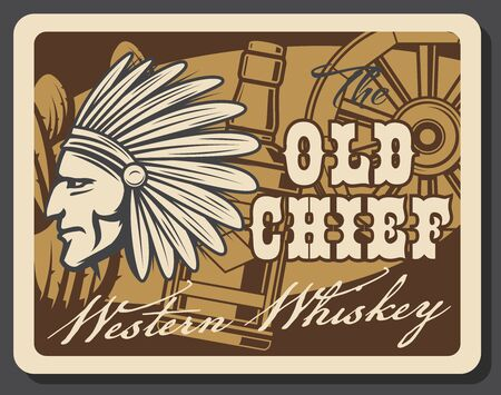 Western whiskey bar, old American pub and cowboy drink saloon vintage poster. Vector Indian chief in indigenous headdress of eagle feathers, whiskey bottle, cactus and Texas chariot carriage