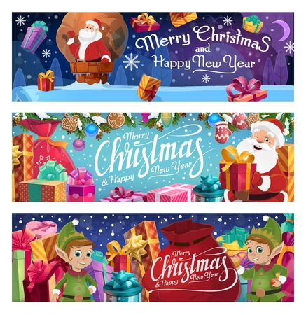 Christmas holiday, Santa Claus and elves or helpers. Vector gift boxes or presents, chimney and roof, sack and moon, fir branches and gingerbread cookies, mitten and balls, snowflakes and celebration