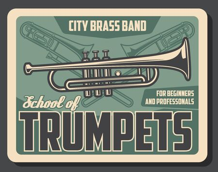Trumpet playing school for beginners and professional musicians. Vector retro vintage poster of trumpet music instrument, jazz and classic orchestra band musical conservatory 일러스트